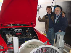 Jim Latham with the Volvo 122S and Fred Key of Key Imports, in Abbotsford